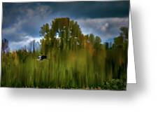 Heron Flying Abstract #h9 Greeting Card