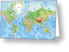 Highly Detailed Physical World Map With Greeting Card