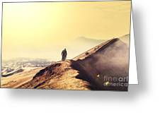 Hike In Bromo Volcano Greeting Card