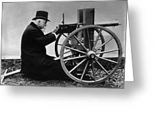 Hiram Maxim Firing His Maxim Machine Gun - 1884 Greeting Card