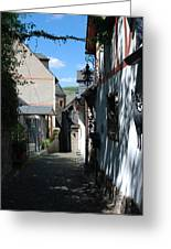 historic cobbled lane in Beilstein Germany Greeting Card