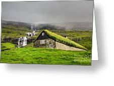 Historic Stone House With Turf Roof On Greeting Card