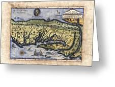 Historical Map Hand Painted Drake Virginia Greeting Card