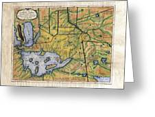 Historical Map Hand Painted Lake Superior Norhern Minnesota Boundary Waters Captain Carver Greeting Card