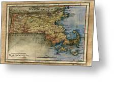 Historical Map Hand Painted Massachussets Greeting Card