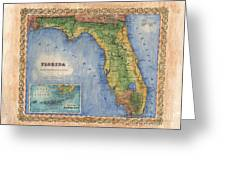 Historical Map Hand Painted Vintage Florida Colton Greeting Card