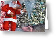 Holiday Hippo Dancing Cheer Greeting Card