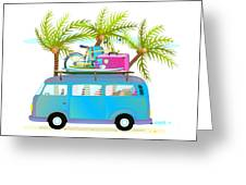 Holiday Summer Trip Bus For Beach Greeting Card