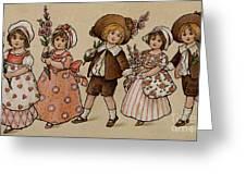 Hollyhocks, Victorian Card Greeting Card
