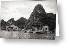Homes On Ha Long Bay Boat People  Greeting Card
