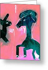 Horse And Rabbit On Pink Greeting Card