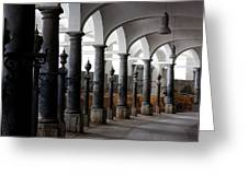 Horse Stalls Of The Royal Stables In Copenhagen Denmark Greeting Card by William Dickman