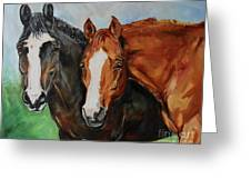 Horses In Oil Paint Greeting Card
