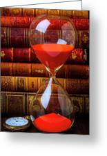 Hourglass And Old Books Greeting Card