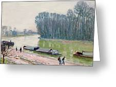 Houseboats On The River Loing Greeting Card