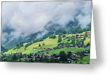 Houses And Green Pastures Line Greeting Card