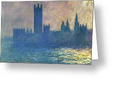 Houses Of Parliament, Sunlight Effect - Digital Remastered Edition Greeting Card