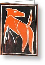 I Was Born In A Mine Orange Dog 33 Greeting Card