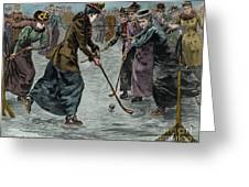 Ice Hockey  Ladies Match On The Lake In Wimbledon Park Greeting Card