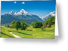 Idyllic Summer Landscape In The Alps Greeting Card