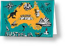 Illustrated Map Of Australia Greeting Card
