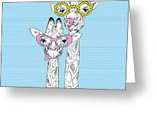 Illustration Of Giraffes In Funky Greeting Card