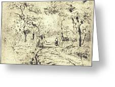 In The Fields At Ennery, 1875 Greeting Card