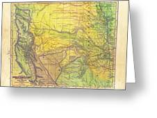 Indian Territory Tribal Map Northern Texas Greeting Card
