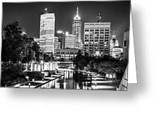 Indianapolis Skyline Lights - Monochrome Edition Greeting Card by Gregory Ballos