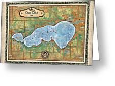 Iowa Clear Lake Custom Map Custom Map Art Greeting Card