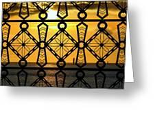 Iron Lattice Pattern St Malo Sunset Greeting Card