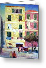 Italian Piazza With Laundry Greeting Card