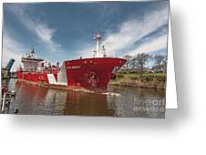 Iver Bright Tanker On The Manistee River Greeting Card