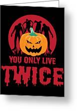 Jackolantern Scary Ghost Zombie Pumpkin Halloween Dark Greeting Card