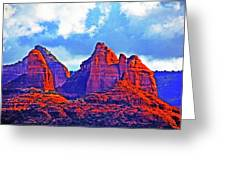 Jack's Canyon Village Of Oak Creek Arizona Sunset Red Rocks Blue Cloudy Sky 3152019 5080  Greeting Card