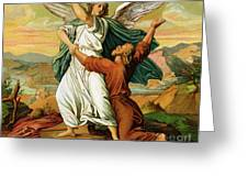 Jacob Wrestiling With The Angel  Greeting Card