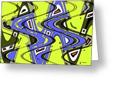 Janca Yellow And Blue Wave Abstract, Greeting Card