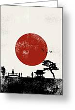 Japan Scenery Poster, Vector Greeting Card