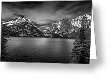 Jenny Lake Black And White Greeting Card by Dan Sproul