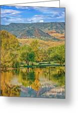 Jerome Reflected In Deadhorse Ranch Pond Greeting Card
