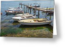Jetty With Moored Boats.  Porec Greeting Card