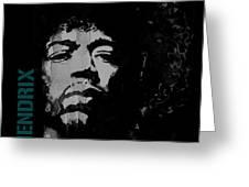 Jimi Hendrix - Retro Black  Greeting Card