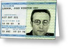 John Lennon Immigration Green Card 1976 Greeting Card