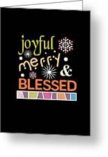 Joyful Merry Blessed Christmas Snowflakes Greeting Card