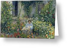 Julie And Ludovic-rodolphe Pissarro Among The Flowers, 1879 Greeting Card