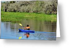 Kayaker In The Wild Greeting Card