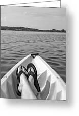 Kayaking In Black And White Greeting Card