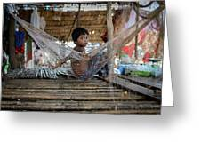 Keeping Cool In Cambodia Greeting Card