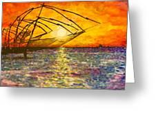 Kerala Sunset Greeting Card by Joel Tesch