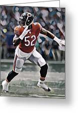 Khalil Mack Chicago Bears Abstract Art 1 Greeting Card